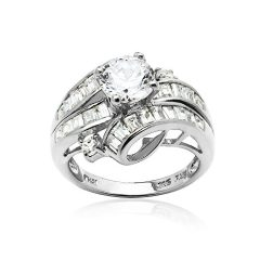 Hoops & Loops Sterling Silver Cubic Zirconia Channel Set Triple Row Fashion Ring