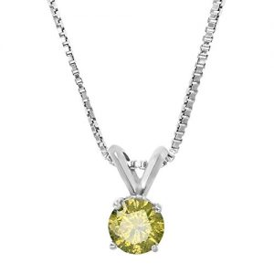 Vir Jewels 1/5 to 2 cttw Yellow Diamond Solitaire Pendant 14K White or Yellow Gold Round Necklace with Chain
