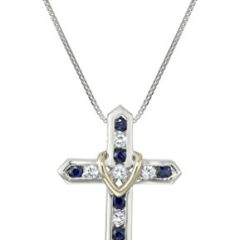 """Sterling Silver, 14k Yellow Gold, and Blue and White Sapphire """"Cross Your Heart"""" Pendant Necklace, 18″"""