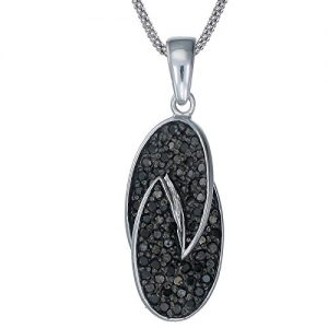 Vir Jewels Sterling Silver Black Diamond Pendant (0.60 CT) With 18 Inch Chain