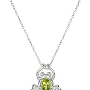 Sterling Silver Genuine Peridot Frog Pendant Necklace, 18″