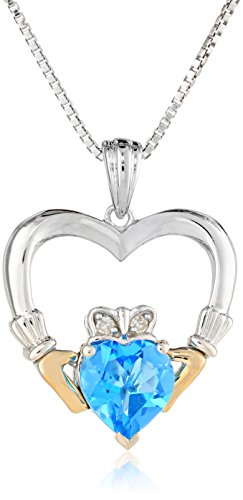 Sterling Silver and 14k Yellow-Gold Blue Topaz Heart and Diamond Claddagh Pendant Necklace, 18″