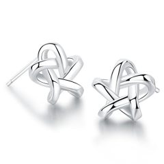 SA SILVERAGE 925 Sterling Silver Star Earrings Tiny Hollow Star Silver Earrings for Women