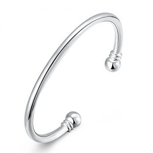 925 Sterling Silver Plated Bangle Bracelet, Fashion Simple Open Bangles Two Bead Cuff Jewelry for Women