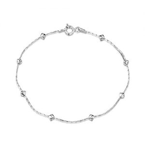 Amberta 925 Sterling Silver 1 mm Snake Chain with Diamond Shaped Beads Chain Bracelet Size 7″ 7.5″ 8″ in