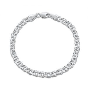 Amberta 925 Sterling Silver 4.5 mm Double Curb Chain Bracelet Size 7″ 7.5″ 8″ in