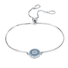 BAMOER 925 Sterling Silver Expandable Lucky Blue Evil Eye Chain Bracelet Necklace with Sparkling Cubic Zirconia for…