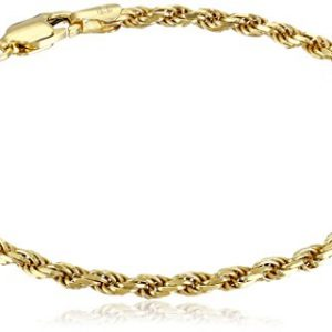 Amazon Essentials Plated Sterling Silver Diamond-Cut Rope Chain Link Bracelet