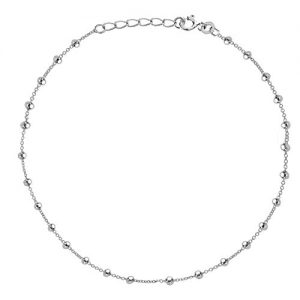 Ritastephens Sterling Silver Italian Shiny Ball Bead Station Link Chain Anklet or Necklace