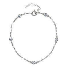 GemStar USA Sterling Silver Cubic Zirconia Station Dainty Chain Anklet