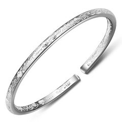 Merdia Women's 999 Solid Sterling Silver Flower Carved Bangle Cuff Bracelets 21g Weight for Wedding Gift