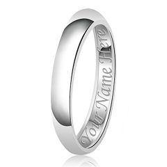 3mm Personalized Name Engraving Classic Sterling Silver Plain Wedding Band Ring