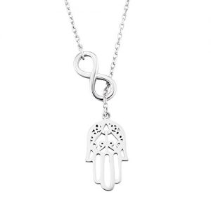 Ladytree 925 Sterling Silver Infinity Hamas Hand Evil Eye Pendant Rolo Chain Necklace, 16″+1.5″