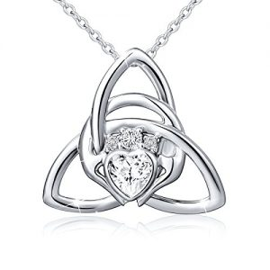 925 Sterling Silver Good Luck Irish Claddagh Celtic Knot Love Heart Pendant Necklace for Women Girls Ladies Birthday…