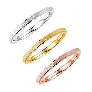 ALEXTINA Women's Stainless Steel 2MM Thin Stackable Midi Rings Silver Rose Gold Engagement Wedding Bands Size 4-9