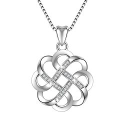 Angemiel 925 Sterling Silver CZ Good Luck Celtic Knot Cross Vintage Pendant Necklaces For Women silver fashion jewelry