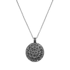 Kumee Antique Silver Tone Round Flowers Pendant Necklace Chain Long Necklace