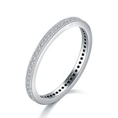 BORUO 2MM 925 Sterling Silver Ring, Cubic Zirconia CZ Eternity Wedding Band Stackable Ring Size 4-12