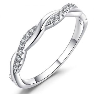 Caperci Sterling Silver CZ Cubic Zirconia Diamond Ring for Wedding Anniversary Jewelry, Size 5-11