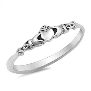 Claddagh Love Heart Celtic Knot Promise Ring Sizes 2-12
