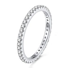 EAMTI 2mm 925 Sterling Silver Wedding Band Cubic Zirconia Full Stackable Eternity Engagement Ring Size 4-10