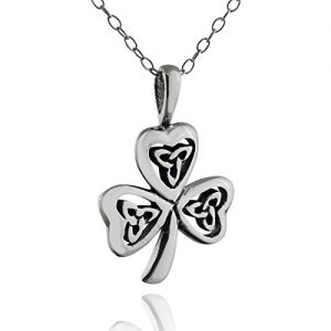 FashionJunkie4Life Sterling Silver Small Celtic Trinity Knot Shamrock Clover Necklace, 18″ Chain