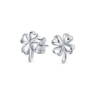 Good Luck Irish Celtic Four Leaf Clover Open Stud Earrings For Women Polished Finish 925 Sterling Silver 11MM