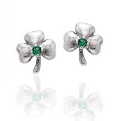 Irish Lucky Clovers – Shamrock with Green Glass Stone Sterling Silver Post Stud Earrings