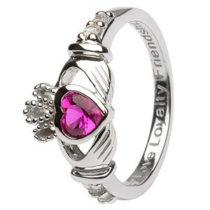 July Birth Month Sterling Silver Claddagh Ring LS-SL90-7. Made in Ireland.