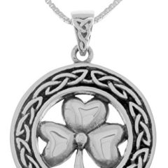 Jewelry Trends Sterling Silver Celtic Good Luck Clover Shamrock Pendant Necklace 18″