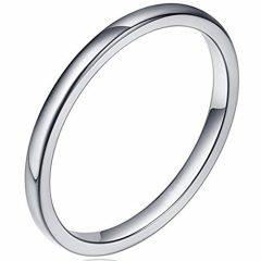 2MM Tungsten Carbide Stackable Ring Plain Wedding Band
