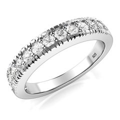 Metal Factory Sterling Silver 925 CZ Cubic Zirconia Wedding Band Ring