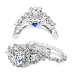 Newshe Engagement Wedding Ring Set For Women 925 Sterling Silver 2.4ct Round Pear White Cz Size 3-13