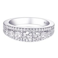 Newshe Eternity Ring Wedding Band for Women 925 Sterling Silver 1.13ct Round White AAAAA Cz Size 4-13
