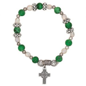 Rosemarie Collections Women's Irish Beaded Stretch Bracelet with Charm