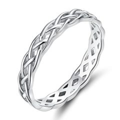 SOMEN TUNGSTEN 925 Sterling Silver Ring 4mm Eternity Celtic Knot Wedding Band for Women Size 3-13