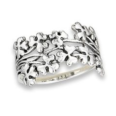 Shamrock Clover Oxidized Filigree Ring New .925 Sterling Silver Band Sizes 6-9