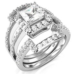 Metal Factory Sterling Silver 3Pcs 925 CZ Cubic Zirconia Engagement Wedding Band Ring Set