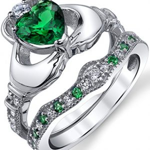 Sterling Silver 925 Heart Shape Claddagh Engagement Ring Wedding Bridal Sets with Green Simulated Emerald Cubic Zirconia