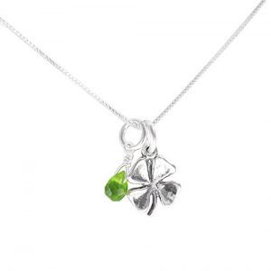 Sterling Silver Four Leaf Clover and Green Crystal Charm Pendant Necklace