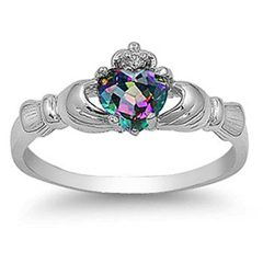 Sterling Silver Simulated Rainbow Mystic Topaz CZ Heart Claddagh Ring 9MM (Size 3 to 13)