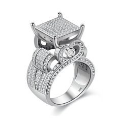 Uloveido Women's 0.4″ Wide Square Cluster Engagement Heart Architecture Ring, Cocktail Bling Ring for Girls RA0221