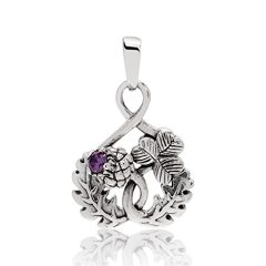 WithLoveSilver 925 Sterling Silver Scottish Thistle And Shamrock Simulated Purple Cubic Zirconia Pendant