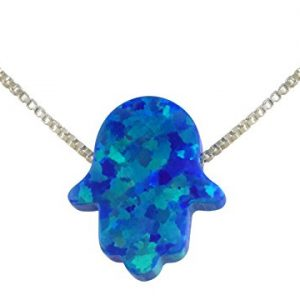aJudaica Blue Created Opal Hamsa Hand Pendant Necklace with Sterling Silver Chain