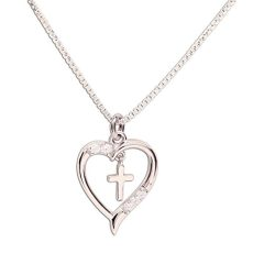 """Girl's Sterling Silver First Communion""""Dancing Cross"""" Heart Necklace"""