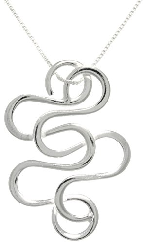 Jewelry Trends Sterling Silver Snake Swirl Pendant Necklace 18″