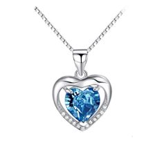 Sterling Silver 8mm Heart Shape Crystal with Cubic Zirconia Pendant Necklace