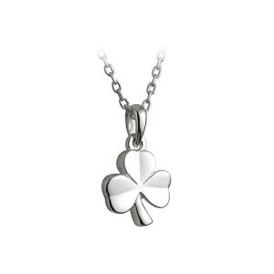 Little Failte Childrens Silver Shamrock Necklace Sterling Made in Ireland