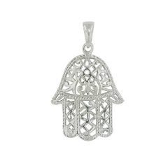 925 Solid Sterling Silver Filigree Hamsa Pendant / Charm for Necklace or Bracelet – Small Hand of Fatima